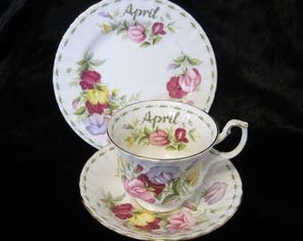 Royal Albert Flower of the Month Tea Trio, April, Sweet Pea