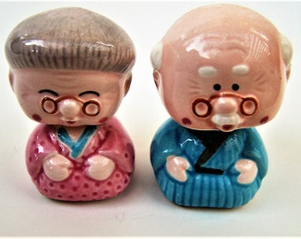 Vintage Japanese Grandparents Couple  Bobblers - Bobbleheads