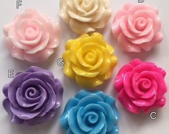 3 pcs 30 mm mixed Cabochon Flowers,mixed 30 mm Rose,resin flower,big rose,mixed rose cabochon,30 mm resin flower,mixed rose flower