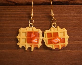 Waffle with strawberry jam earrings- Polymer clay