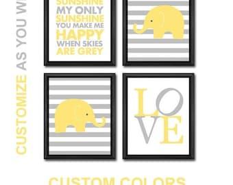 elephant nursery wall art, elephant baby nursery art, elephant baby room decor, elephant baby shower decor,you are my sunshine nursery deco
