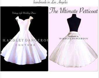 "Tea Length 48"" White WEDDING Dress with Ultimate Petticoat Set"