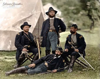 Four Union Cavalry Officers of the Civil War 1862 Historic Photograph - DIGITAL DOWNLOAD