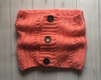 Strawberry Pink Button Cowl Scarf