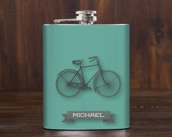 Bicycle flask, bicycle gift, bike gift, cycling gifts, gifts for cyclists, cyclist gift, personalized, custom bicycle gift, gift for him