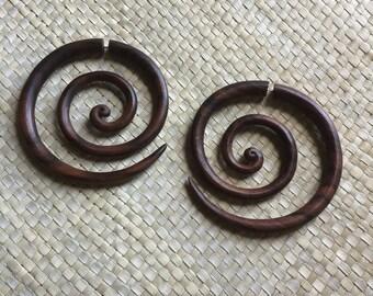Extra Large Spiral Fake Gauge Wood, Wooden Spiral Earrings, Wood Fake Piercing