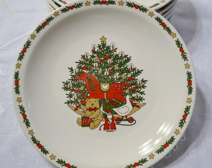 Vintage O Christmas Tree Dinner Plate Set of 8 Holiday Dinnerware Ten Strawberry St 1987 PanchosPorch