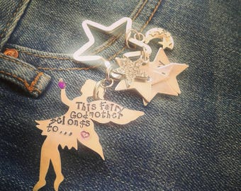 """Personalized Fairy keychain hand stamped with """"this fairy godmother belongs to"""" with hand stamped stars. Metal stamped and personalised."""