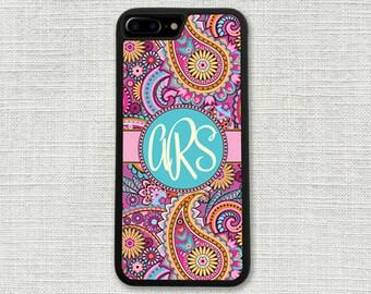 Pretty Pink Paisley iPhone 7 Case, Monogrammed iPhone 7 Plus Case Monogram 1185