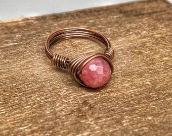 Wire wrapped ruby ring - copper ruby ring size 6 - 6.5 pink and brown jewelry