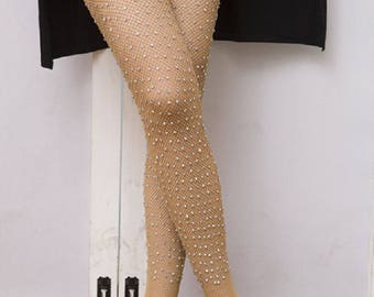 Fishnet Tights,fishnet stockings,Hollowed-out fishnet stockings, flowers,hand-embroidered, crystal, pearls, lace and women's stockings