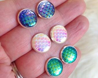 Mermaid Scale Stud Earrings, Set of 3 pair, Fish Scale, Dragon Scale, Nautical, Beach, Summer, Gift, Boho, Siren, Nautical Jewelry