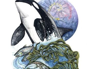 Orca Totem Print