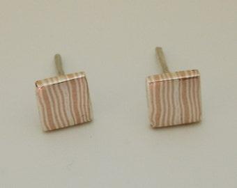 Mokume gane earrings, Square earrings