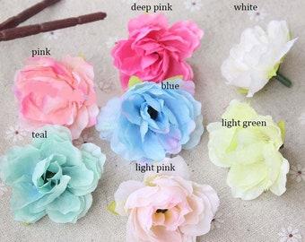 Free shipping (100pcs/lot ) 4cm Artificial simulation silk Hibiscus Flower Heads Rose wedding Christmas Decoration flowers DIY
