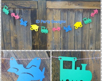 PLANES TRAINS and AUTOMOBILES Transportation Garland Banner