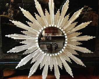 "Sunburst Mirror in silver (appx 32"" diameter)"