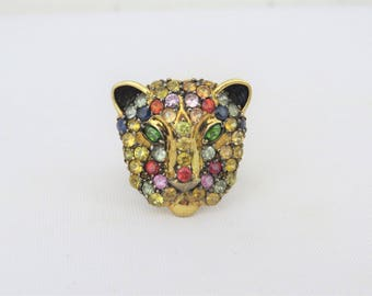 Vintage Sterling Silver Yellow & Silver Tone Mixed Gemstone Tiger Head Ring Size 8.5