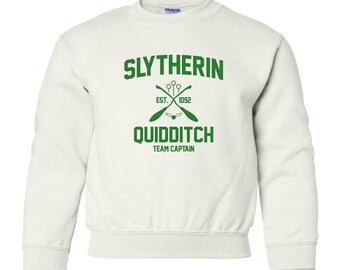 Harry Potter Sweatshirt Slytherin Sweatshirt Harry Potter Slytherin Quidditch Hogwarts Sweater Sweatshirt Crewneck Unisex Youth Kids