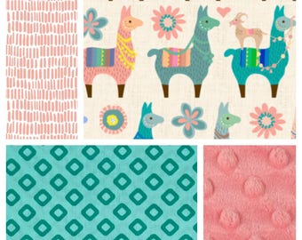 NEW! Baby Girl Bedding  - Minky Blanket, Sheet and Crib Skirt in Coral and Teal Llamas Goats