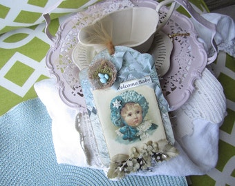 Vintage-style Baby Ornament - Welcome New Baby Boy Gift - Victorian Baby Boy  Ask a question
