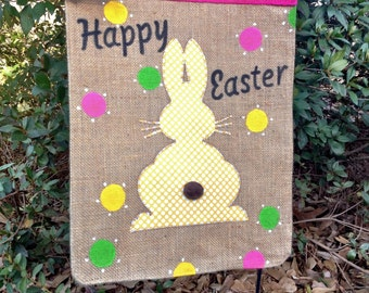 Easter Bunny Garden Flag ,Personalized Burlap Spring Garden Flag,Easter  Flags, Burlap Garden