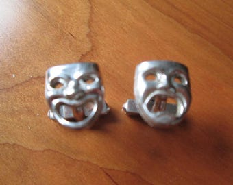 Comedy and Tragedy Sterling Silver Cufflinks