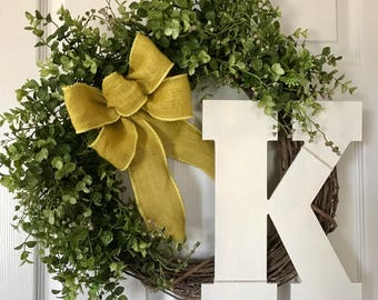BOXWOOD WREATH,Summer Wreath,Farmhouse Wreath,Front Door Wreath,Year Round Wreath,Monogram Boxwood Wreath,Grapevine Wreath,Fall Wreath