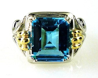 Stunning Swiss Blue Topaz Emerald Cut Ring 925 Sterling Silver With Solid 14k YG Accents