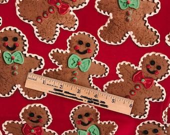 Christmas fabric destash, gingerbread man fabric, gingerbread girl fabric