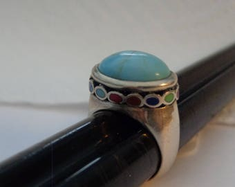 Sterling Silver and Turquoise and Multi Stone Ring - size 6 3/4