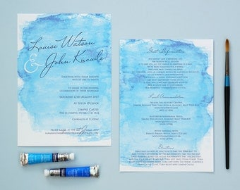 Evening Watercolour Wedding Invitations - Seabreeze Blue