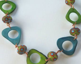 Tagua and Gorgeous Artisan Made Lampwork Glass Beads. OOAK Artisan Statement Necklace. Blue and Green Necklace. Natural Tagua Nut and Glass.