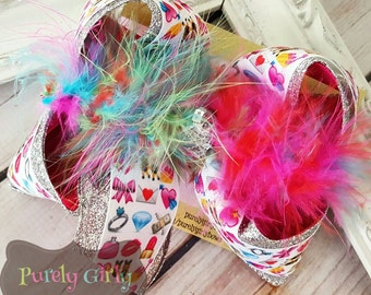 Emoji Hairbow Silver Glitter Large Bow Multicolor Pink
