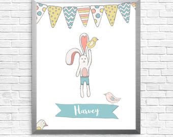 Personalised bunny bird illustration, boy or girl name, custom printable, digital file, baby room art, baby gift, nursery decor, wall art