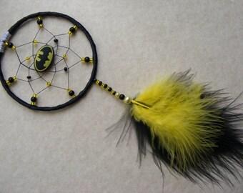 BATMAN Black & Yellow MINI dreamcatcher home or car present gift Dream Catcher