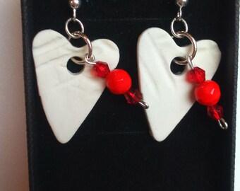 Porcelain Heart Beads Red Earrings