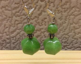 Vintage Handmade Long Earring Green Apple Chalcedony Beads Natural Gemstone