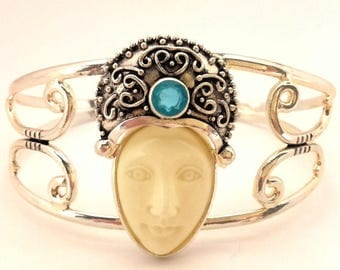 Bracelet Bangle Carved Moon Goddess Face Topaz Blue Quartz German Silver