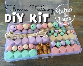Silicone Teething DIY Kit - Silicone Beads & Supplies - Make Your Own Baby Chew Jewelry Teething Necklace - Lilac/Candy/Mint/Navajo (SO)