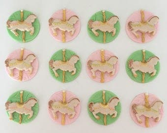 12 carousel fondant toppers