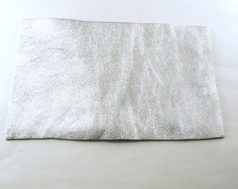 """Silver Leather - 4"""" X 6"""" Square Silver Split Leather - Metallic Silver Craft Leather - Cowhide leather - Genuine Leather - Leather Remnant"""