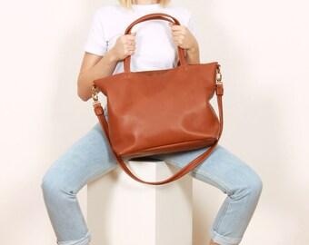 Big leather Bag,brown shoulder bag,Tote bag,brown shopper,GRETA