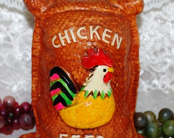 Japan Brown Ceramic Feedbag W/ Chicken Feed & Chicken Embossed Bank