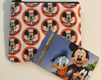 MINI Disneyland-Inspired Mickey Mouse Club Handmade Fabric Small Zipper Pouch/Coin Purse