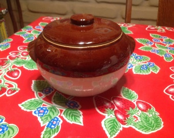 Vintage stoneware bean pot with lid and two handles- USA