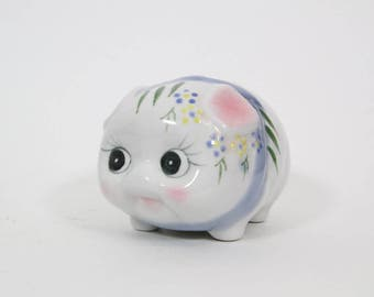 Adorable Kitschy Cute Piggy Bank, Kitsch Pig Bank Big Eyed Eyelashes Ceramic