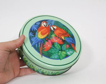Vintage Round Parrot and Jungle Tin