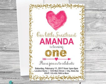 Valentines Birthday Invitation, Heart Birthday Invitation, Valentine Birthday, Valentine Invitation, First Birthday Invitation, Sweetheart