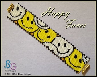 HAPPY FACES Peyote Cuff Bracelet Pattern